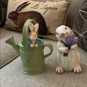 Flower watering pot & rabbit 🐇 w purple flowers